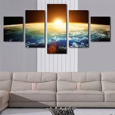2019 <b>HD Print</b> Painting <b>Large</b> Oil Poster <b>5</b> Panel Planet Landscape ...