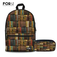 <b>FORUDESIGNS</b> Women Bagpack Library Book <b>3D Prints</b> Pencil ...