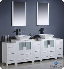 white double sink bathroom   fresca torino  white modern double sink bathroom vanity w  side cabinets vessel sinks