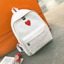 <b>2 Pcs/Set Hot Sale</b> Women Love Heart Printed Canvas Backpack ...