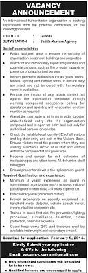 jobs by newspaper jobs in humanitarian organization sadda kurram agency