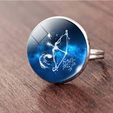 Suteyi 12 Constellation Leo Virgo Ring Glass Cabochon Pendant ...