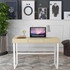 <b>iKayaa</b> Modern <b>Metal</b> Frame Computer Desk Table with Drawer ...