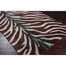 hand tufted brownblue zebra animal print retro chic rug 5 x chic zebra print rug