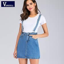 Vangull <b>Women High</b> Waist Suspender <b>Denim Skirts</b> New ...
