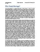 gay marriage   persuasive essay    a level sociology   marked by    who needs marriage  is a scientific article written in by gerald c  lubenow