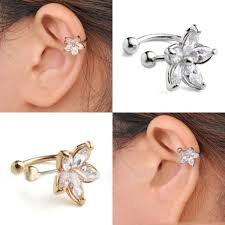 <b>1pc</b> Womens <b>Crystal Flower</b> U Shape Ear Cuff Earring No Piercing ...
