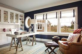 nautical office decorating ideas black and white home office with blue wall and roman shades black and white home office
