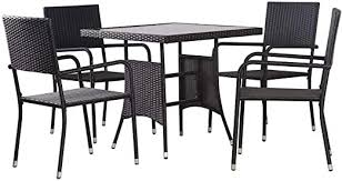 vidaXL <b>5</b>-<b>Piece Garden Dining</b> Set Poly Rattan Black: Amazon.de ...