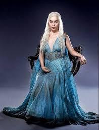 <b>Game</b> of Thrones Daenerys Qarth silk Dress Blue with Gold Belt ...