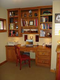 interesting brown finish varnished wooden home office desk wall mounted wooden cabinet wooden frame window wooden plint list white ceiling light yellow brown finish home office