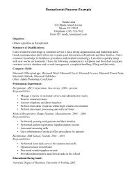 sample medical receptionist of receptionist legal receptionist ... Reception Resume Examples. medical receptionist resume