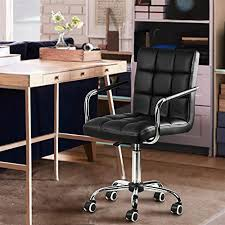 Yaheetech <b>Black Faux</b> Leather Home Office Computer <b>Desk Chairs</b> ...