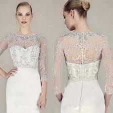 2019 Luxury New Lace <b>Bridal</b> Short <b>Bolero Jackets</b> Scoop Neck ...