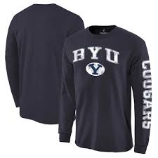 byu cougars fanatics branded distressed arch over logo long sleeve hit t shirt navy branded office merchandise