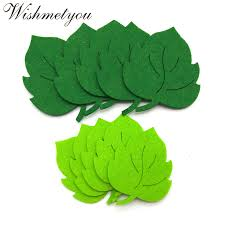 WISHMETYOU <b>10pcs</b> Leaf <b>Felt</b> Green Tree Leaves Patch Appliques ...