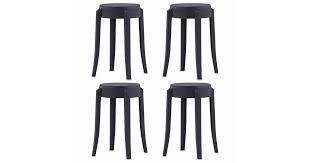 <b>Stackable Stools 4 pcs</b> Black Plastic - Matt Blatt