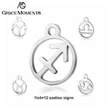 12pcs/<b>lot</b> Grace Moments Stainless <b>Steel</b> 12 Zodiac Charm <b>DIY</b> ...