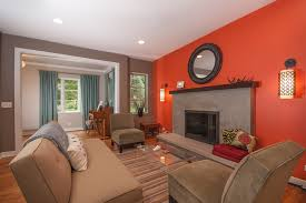 orange walls living room contemporary image ideas with armless upholstered chair orange red burnt red home office