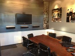creative conference room design with awesome led lights wall modern highlighting large rectangular brown finish smooth awesome office conference room