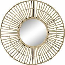 Large Bamboo <b>Rattan</b> Wall <b>Mirror</b> Round <b>Wicker Cane</b> Boho ...
