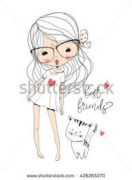 <b>cute girl</b> with cat | Милые рисунки, Иллюстрации, Гриффонаж