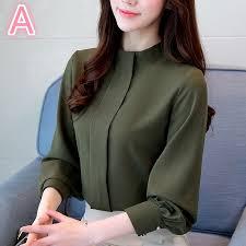 <b>Korean Fashion Women's</b> Blouse Tops Long Sleeve <b>Chiffon</b> ...