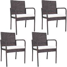 Costway <b>4 PCS</b> Outdoor Patio Rattan <b>Dining Chairs</b> Cushioned Sofa ...