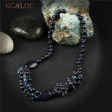 <b>KCALOE</b> Fine Blue Sand Stone Vintage Necklace Natural Semi ...