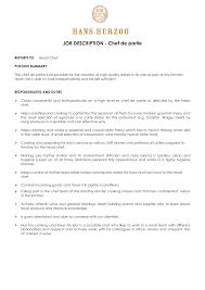 job chef job description resume template chef job description resume