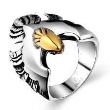 LEKANI <b>GOMAYA</b> Retro Eagle Owl 316L Stainless Steel Ring Men's ...