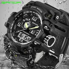 SANDA military watch <b>men's</b> waterproof sports watch <b>top brand</b> ...