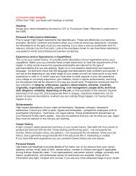 personal profile for curriculum vitae examples resume personal gallery of resume personal profile examples