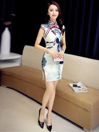 Modern Qipao / Cheongsam Dress in <b>Beijing Opera Pattern</b> (With ...
