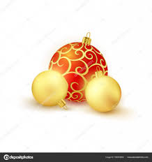 <b>Набор 3 красные</b> и Золотые елочные шары, изолированные на ...