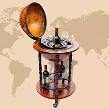 vidaXL <b>Globe Bar Wine Stand</b> Wood Antique Retro Style Drink Bottle ...