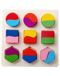 <b>Kids Baby Wooden</b> Geometry Building Blocks Puzzle Early <b>Learning</b> ...