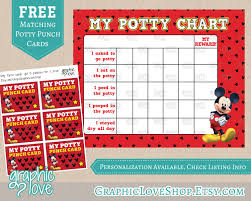 printable mickey mouse potty training chart punch cards 🔎zoom