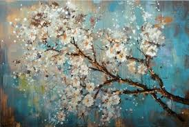 Mintura Large <b>100</b>% <b>Handpainted</b> Flowers Tree Abstract <b>Morden</b> Oil ...