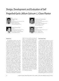 (PDF) Design, Development and Evaluation of Self Propelled Garlic ...