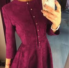 <b>2019 Winter</b> Dress Wine Red Long Sleeve Casual Office Swing ...