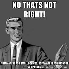 No thats not right! Firmware is for small devices. Software is for ... via Relatably.com