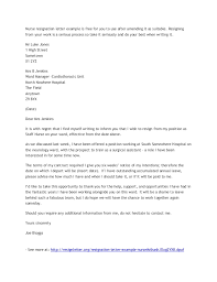 application and resignation letter      nurse resignation letter example