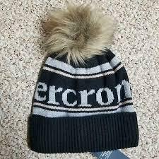 nwt abercrombie & fitch <b>exploded logo</b> beanie black knit <b>hat</b> pom ...