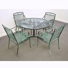 vintage mid century modern wrought iron patio dining set table chairs salterini antique rod iron patio