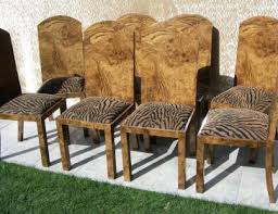 art deco walnut set of six dining chair in zebra print art deco dining chairs