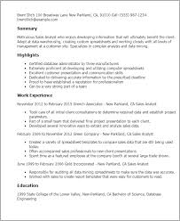 Resume Templates  Sales Analyst