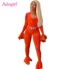 Adogirl Women Sexy Solid Flare Jumpsuit Deep V Neck Long Bell ...