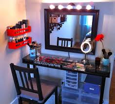 simple black wooden make up table with glass table top and black wooden frame wall mirror charming makeup table mirror lights