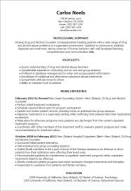 sample resume resume templates drug and alcohol counselor chemical dependency counselor resume